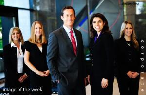 Corporate Business Executive Group Photo Shoot - The Newport Coast Group at Morgan Stanley Smith Barney, Bettina Kallins, Senior Vice President, David Wagner, CFP, CPA/PFS - Financial Advisor