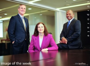 Corporate Executive Group Photo Shoot - Tim Freudenberger, Marie DiSante and Dave Carothers, Attorneys at Law Carothers, DiSante & Freudenberg LLP