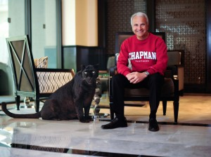 California Executive Portrait - Jim Doti, President, Chapman University, black panther