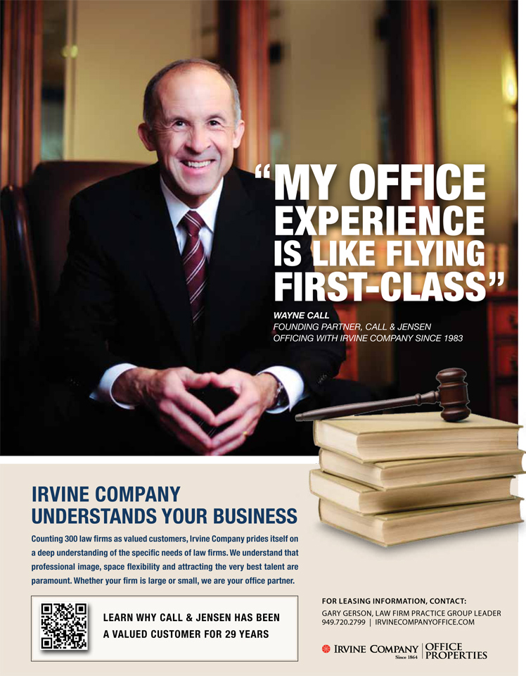 Wayne Call, Call & Jensen - Irvine Company Ad, Ad design by Idea Hall www.ideahall.com