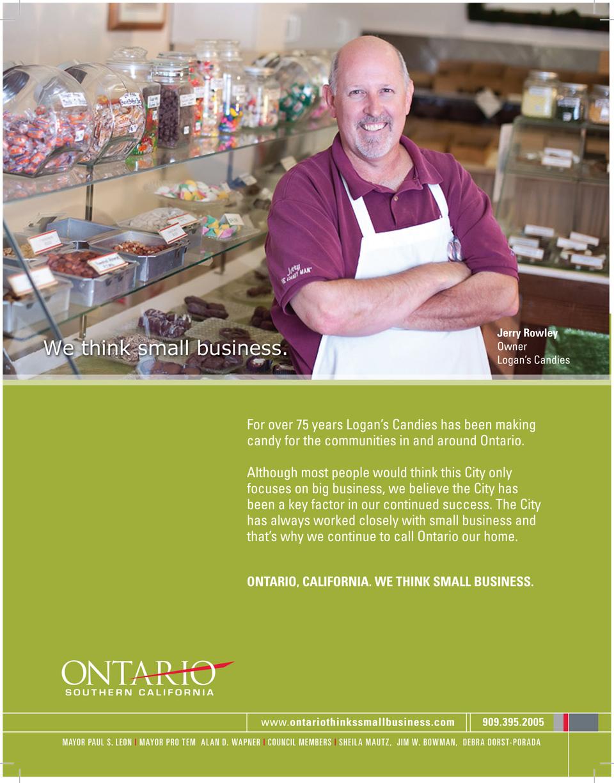 Editorial, City of Ontario Ad Campaign, Logans Candy, The Spaulding Thompson & Associates, spauldingthompson.com